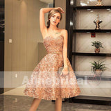 Blush Pink Lace Appliques Sweetheart Strapless Sweet Homecoming Dresses ,BD00233