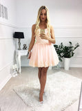 Blush Pink Lace Sweetheart Strapless Lace Up Back Homecoming Dresses,BD0055