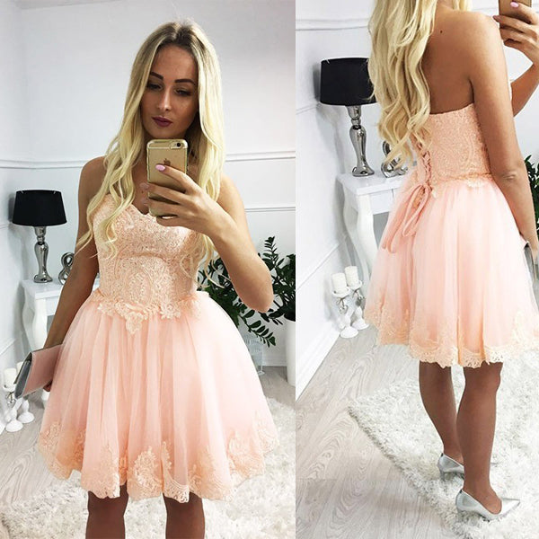 a6920ab7bb FEATURED PRODUCTS. Your product s name.  200.00. Blush Pink Lace Sweetheart  Strapless Lace Up Back Homecoming Dresses ...