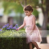 Blush Pink Lace Tulle Flower Girl Dresses With Rhinestone Sash, FGS068