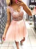 Blush Pink Lace Tulle Sleeveless Simple  homecoming dresses,BD00131