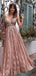 Blush Pink Lace V-neck Sleeveless A-line Prom Dresses,PD00207
