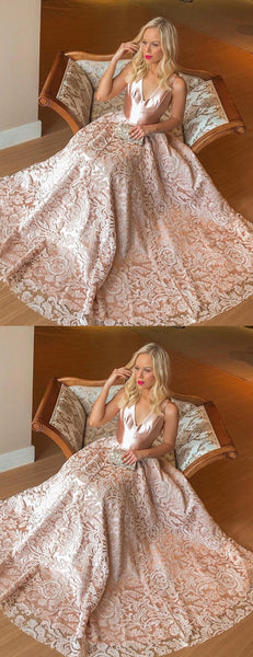 Blush Pink Satin Lace Sleeveless V-neck Prom Dresses.PD00259