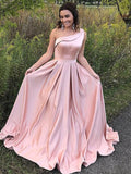 Blush Pink Satin One Shoulder Simple Prom Dresses,PD00161