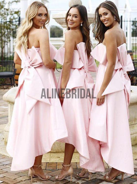 Blush Pink Satin Strapless Bow Knot High Low Bridesmaid Dresses, AB4008