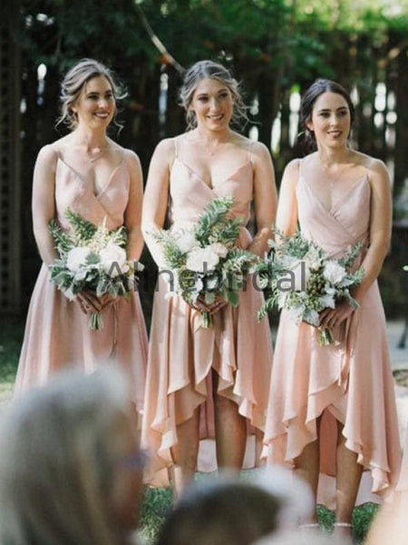 Blush Pink Spaghetti Strap High Low Ruffles A-line Bridesmaid Dresses, AB4136