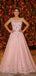 Blush Pink Tulle Beading Applique Two Piece Prom Dresses.PD00215
