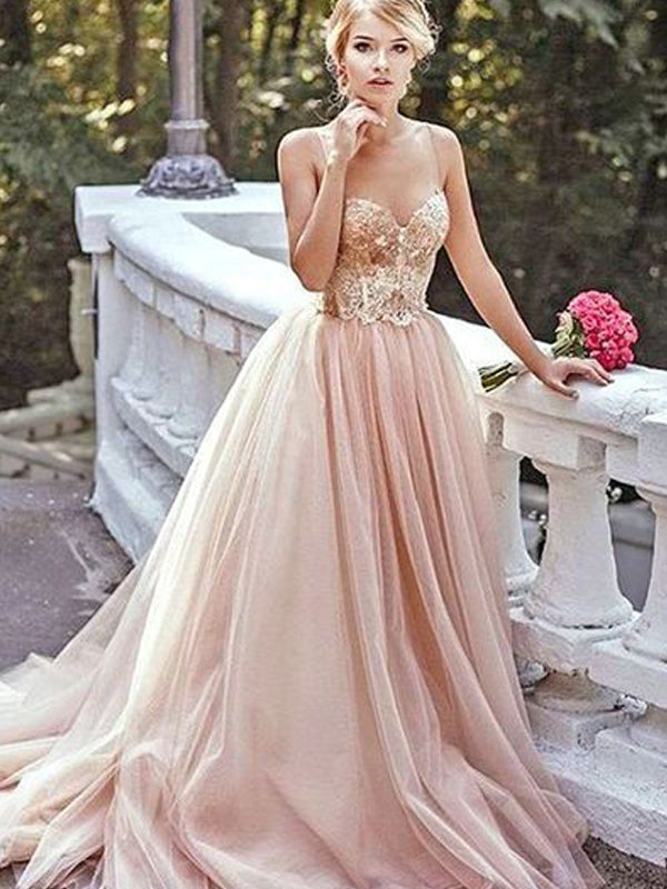 Blush Pink Tulle Beading Sweetheart Spaghetti Straps Prom Dresses ,PD00128