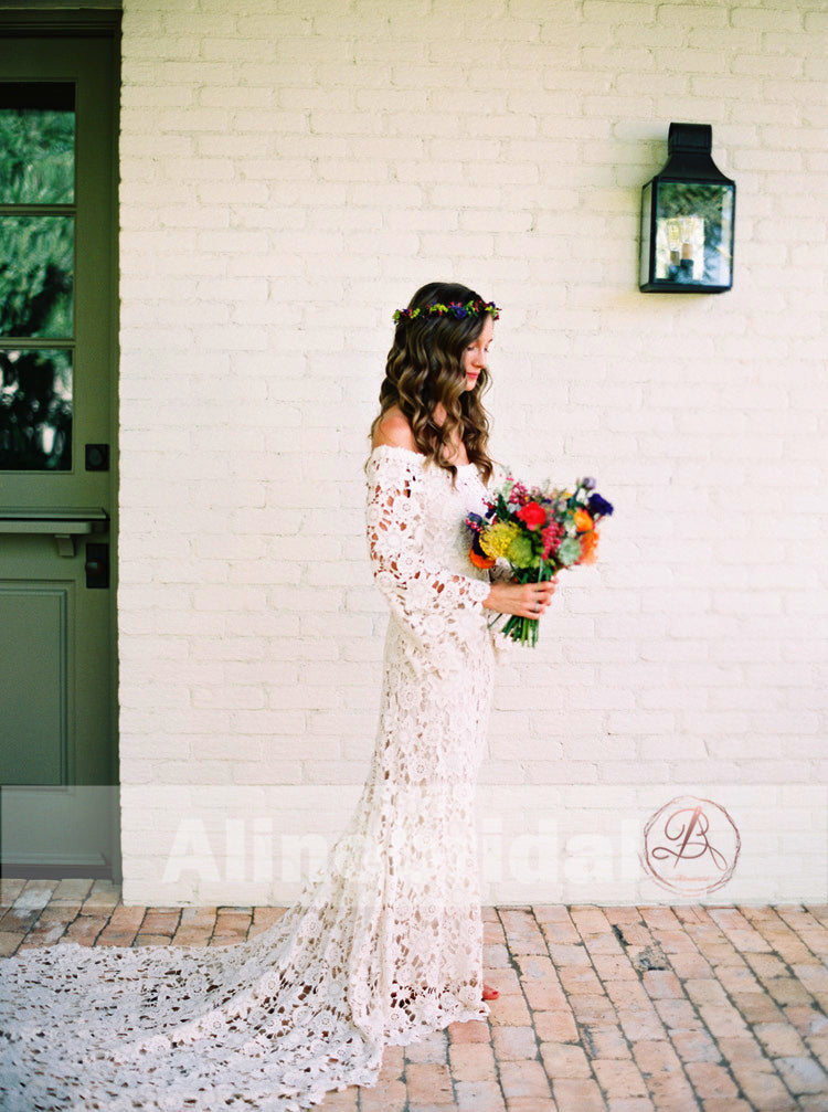 Bohemian Wedding Off Shoulder See Through Ivory Lace Long Sleeves Wedding Dresses, AB1157