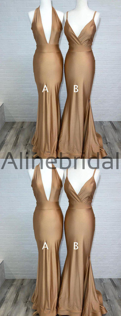 Brown Jersey Mismatched Mermiad Charming Bridesmaid Dresses, AB4053