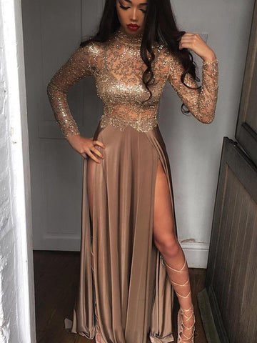 products/Brown_Jersey_Shiny_Lace_Long_Sleeve_High_Neck_Prom_Dresses_PD00301-1.jpg