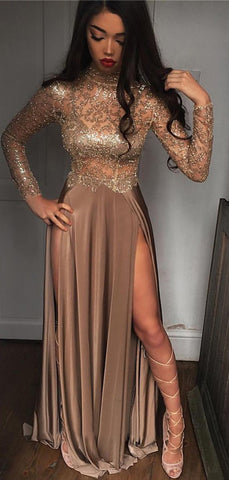 products/Brown_Jersey_Shiny_Lace_Long_Sleeve_High_Neck_Prom_Dresses_PD00301-2.jpg