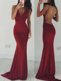 Burgundy Backless V-neck Sexy Mermaid Spaghetti Straps Cocktail Affordable Prom Dress PD0161