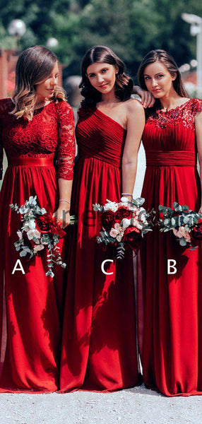 Burgundy Chiffon Lace Mismatched A-line Formal Bridesmaid Dresses, AB4069