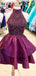 Burgundy Elastic Satin Beading Mismatched Sleeveless Homecoming Dresses  ,HD0040