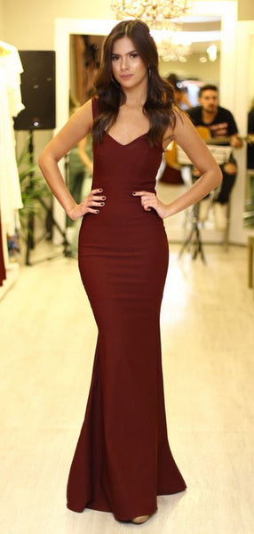 Burgundy Jersey Mermaid Open Back Sleeveless Long Prom Dresses .PD00271