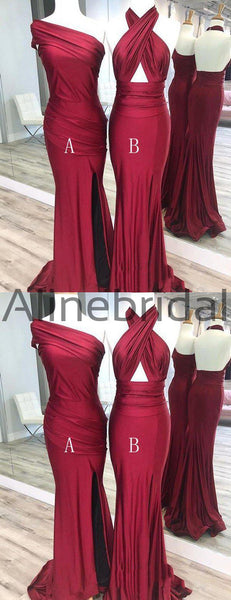 Burgundy Jersey Mismatched Mermaid Elegant Long Bridesmaid Dresses, AB4054