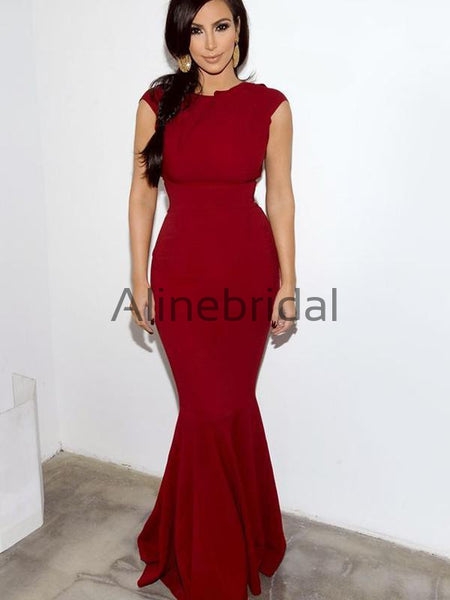 Burgundy Jersey Round Neckline Cap Sleeve Mermaid Bridesmaid Dresses, AB4130