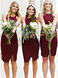 Burgundy Jersey Sheath Sleeveless Short Bridesmaid Dresses, AB4040