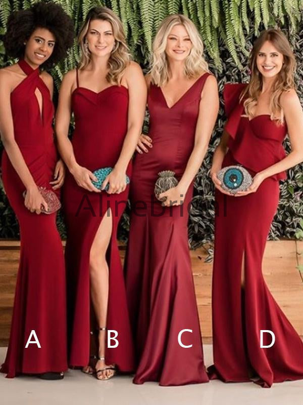 Burgundy Mismatched Mermaid Elegant Long Bridesmaid Dresses , AB4081