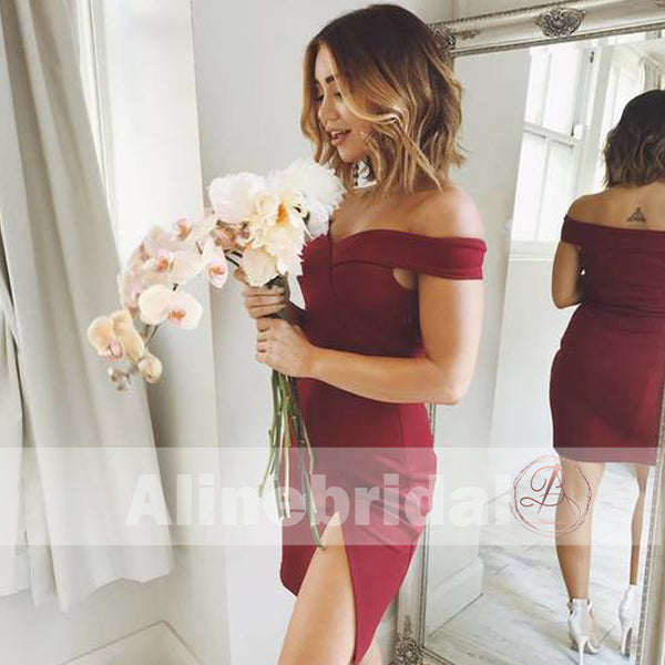 Burgundy Off Shoulder Tight Sheath Homecoming Dresses With Side Split ,HD0001