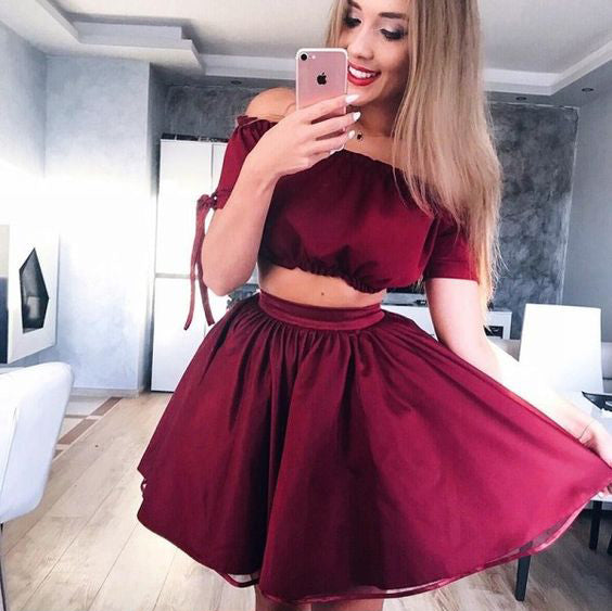 Burgundy Off Shoulder Two Piece Sweet Homecoming Dresses,BD00135