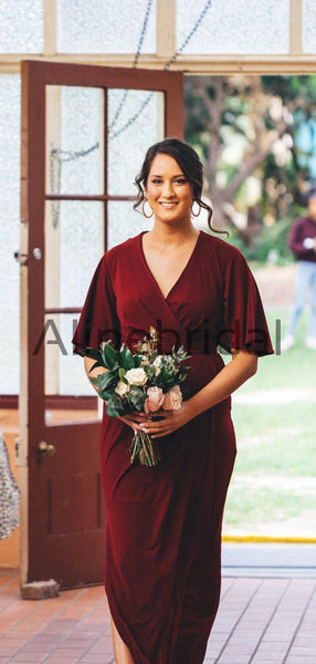 Burgundy V-neck Half Sleeve Plus Size Bridesmaid Dresses, AB4106