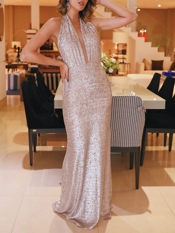 Sequin Halter Backless Sheath Sparkly Prom Dresses ,PD00312