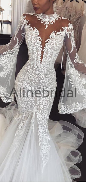 Charming Long Sleeves Lace Mermaid Long Wedding Dresses WD0571