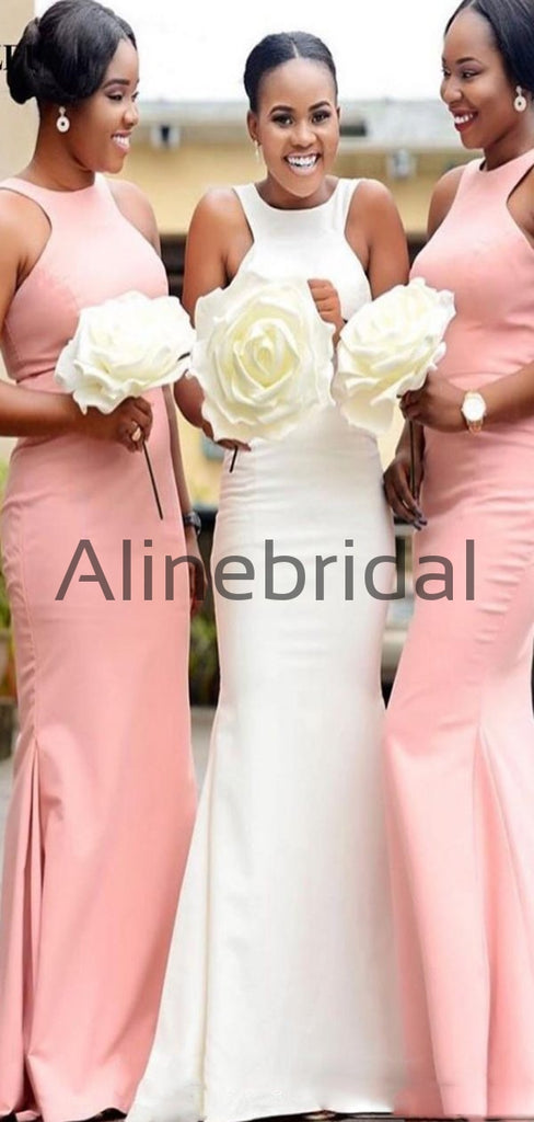 Charming Pink Mermaid Sleeveless Long Bridesmaid Dresses AB4240