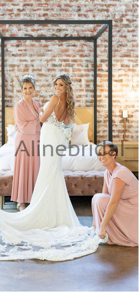Charming Pink Simple Jersy Beach Long Bridesmaid Dresses AB4203