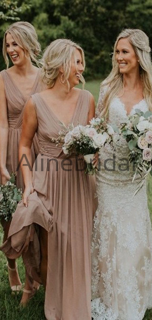 Charming V-neck Formal Beach Long Bridesmaid Dresses AB4204