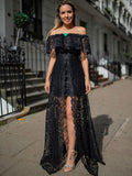 Charming Black Lace Off Shoulder Front Slit A-line Prom Dresses.PD00269