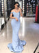 Charming Blue Lace Off Shoulder Mermaid Long Prom Gown Dresses,PD00042