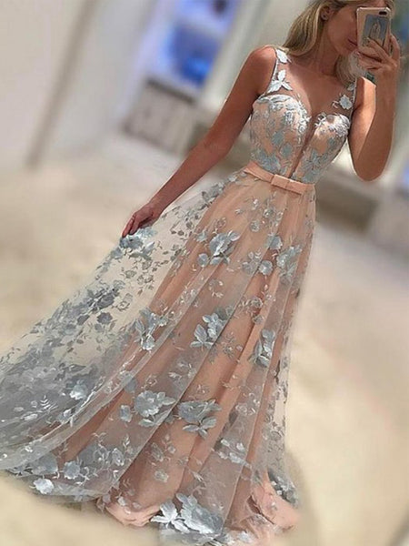 Charming Floral Prints Lace Pink With Sash Sweetheart  Evening Party Prom Dresses,PD00011
