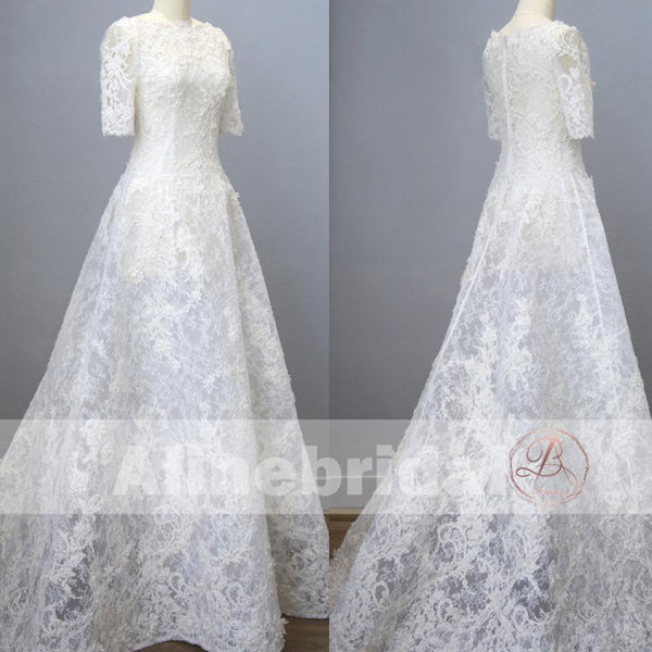 Charming Gorgeous Lace Straight Neckline  Short Sleeve A-line Wedding Dresses, AB1125