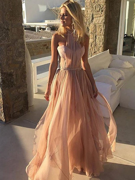 Charming Halter Sweetheart Strapless Pink Chiffon High Split Side Party Prom Dresses,PD00015