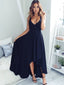 Charming  High Low Navy Sleeveless Simple  Long  Prom Dresses,PD00025