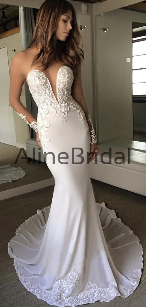 Charming Illusion Long Sleeve Lace Applique Mermaid Wedding Dresses, AB1515