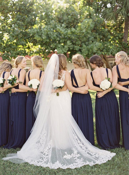Charming Inexpensive Navy Blue Chiffon Sleeveless Backless Long Bridesmaid Dresses, WG130