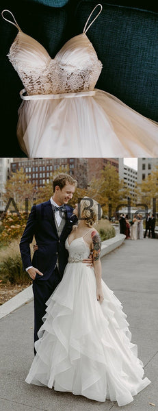 Charming Lace Ruffles Tulle Ball Gown Spaghetti Strap Wedding Dresses, AB1570