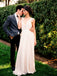 Charming Lace Top Chiffon Sleeveless Simple A-line Beach Wedding Dresses , AB1085