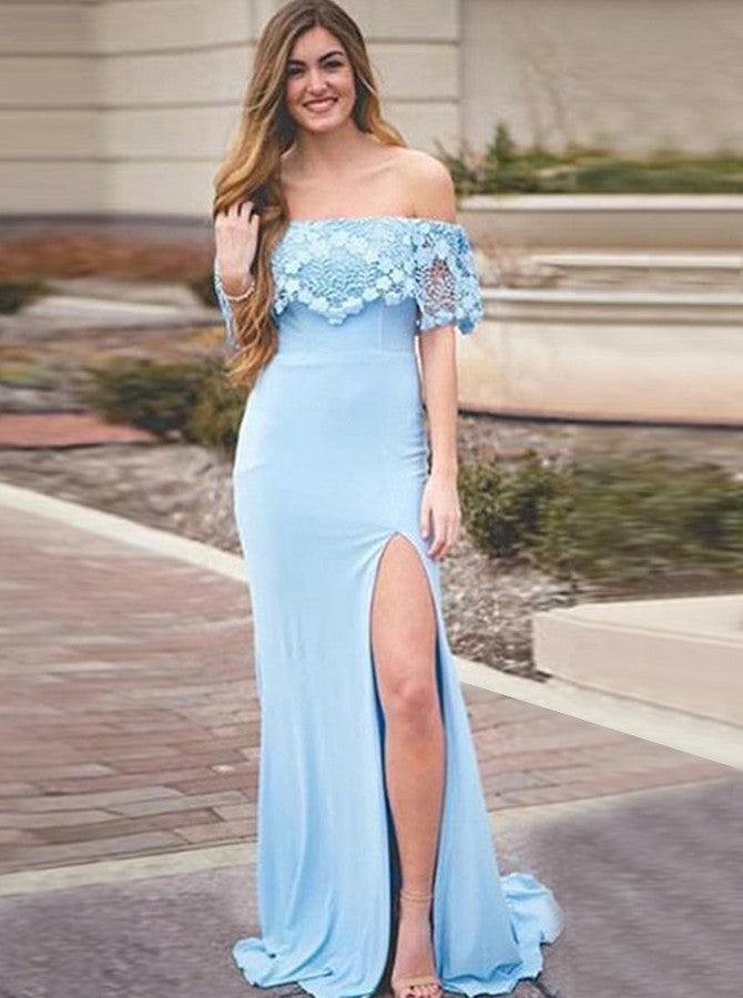 Charming Off Shoulder Blue Lace Mermaid Split Long Prom