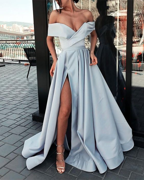Charming Off Shoulder Split Formal Party Prom Dresses ,PD00155