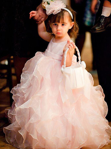 Charming Organza Ruffles Ball Gown Ivory Long Flower Girl Dresses, FGS113