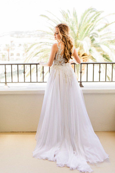 Charming See Through Applique Top Chiffon Beach Wedding Dresses, AB1166
