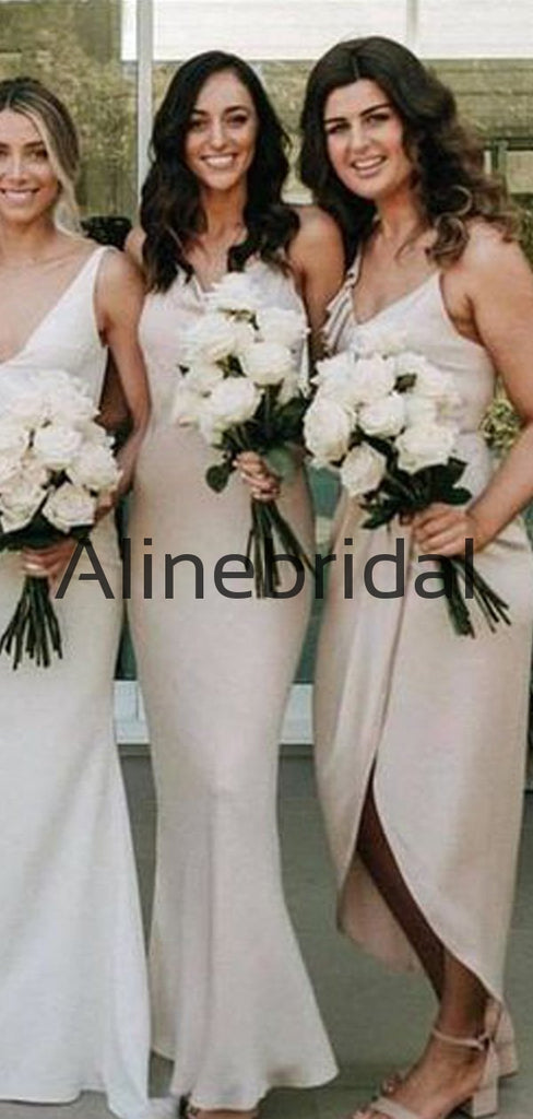 Cheap Spaghetti Straps Mismatched Formal Long Bridesmaid Dresses AB4216