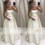 Cheap Ivory Satin Strapless Ball Gown Wedding Dresses With Bow Sash, AB1148