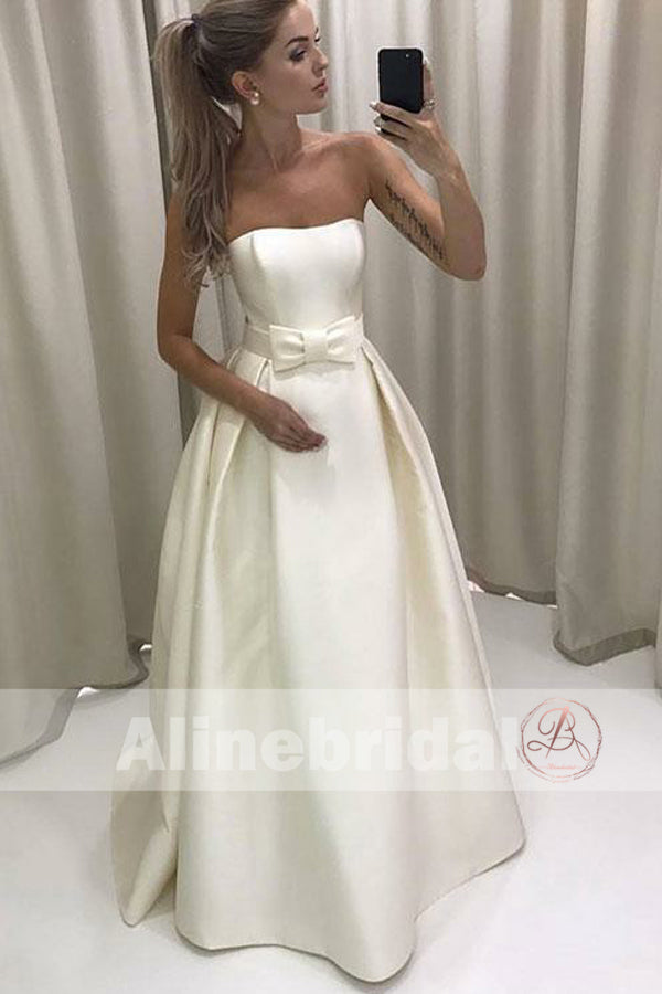Cheap Ivory Satin Strapless Ball Gown Wedding Dresses With Bow Sash ...