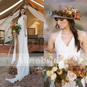 Cheap Lace Top Chiffon Halter Wedding Dresses For Beach Wedding , AB1155